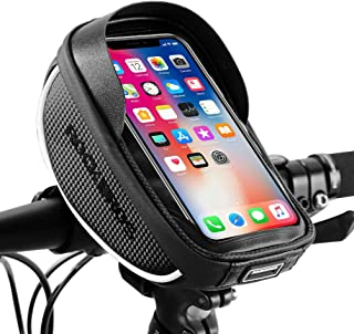 ROCK BROS Bike Phone Bag Bicycle Phone Mount Bag Waterproof Handlebar Bike Phone Case Holder Sensitive Touch Screen Phone Compatible with iPhone X XS Max XR 8 7 Plus Below 6.5