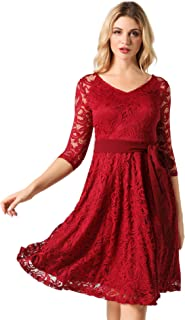 Women's Lace Party Swing Dress 3/4 Bridesmaid Midi Dress With Belt