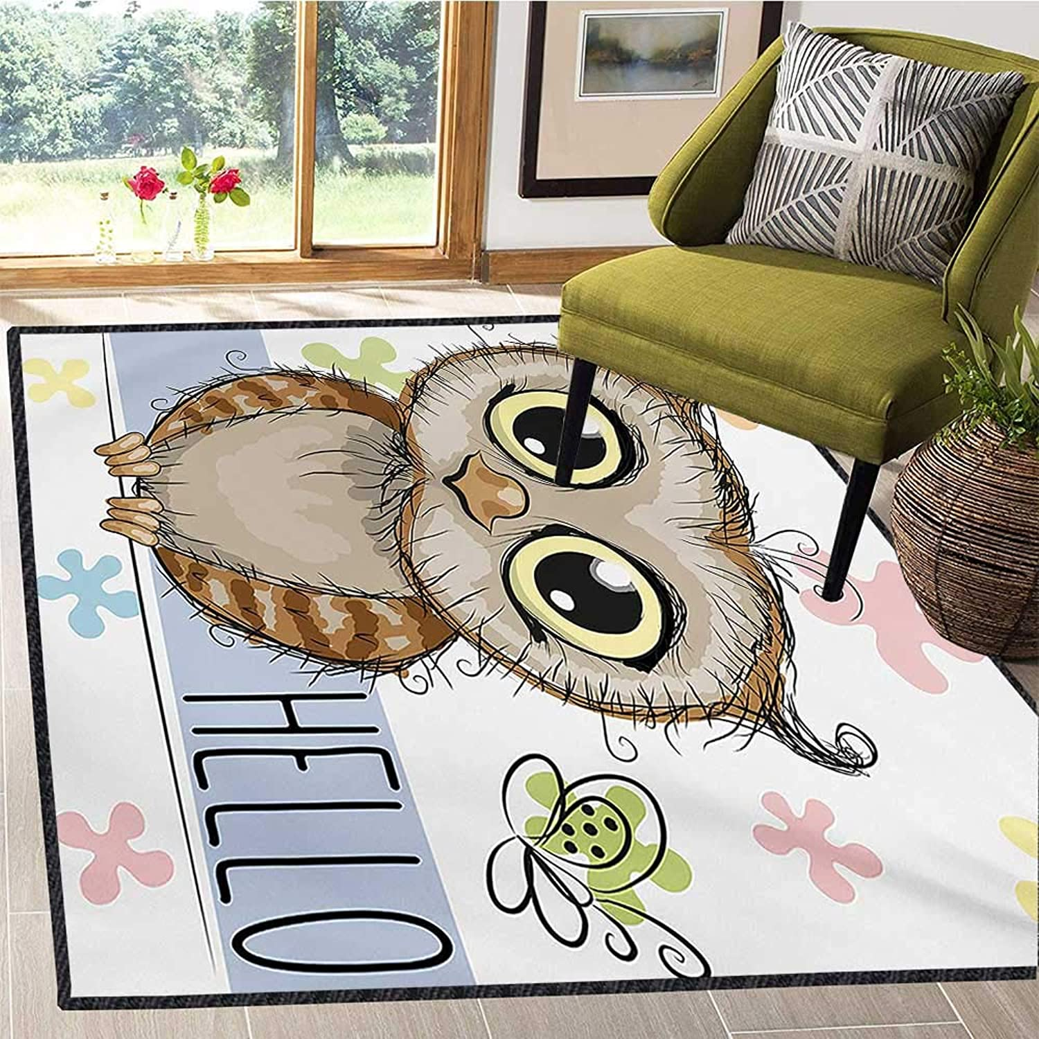 Owls, Floor Mat for Kids, Cartoon Owl and a Butterfly on a Floral Background with Hello Message Illustration, Door Mats for Inside Non Slip Backing 6x8 Ft Multicolor