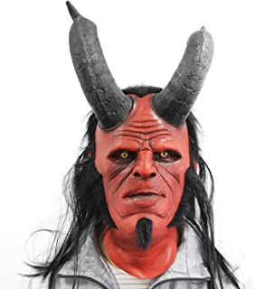 ZMJ Hellboy Mask with Hair Right Hand Glove Halloween Costume Latex