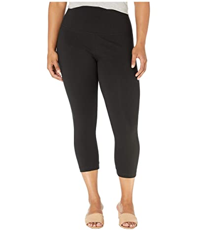 Lysse Plus Size Cropped Cotton Leggings (Black) Women