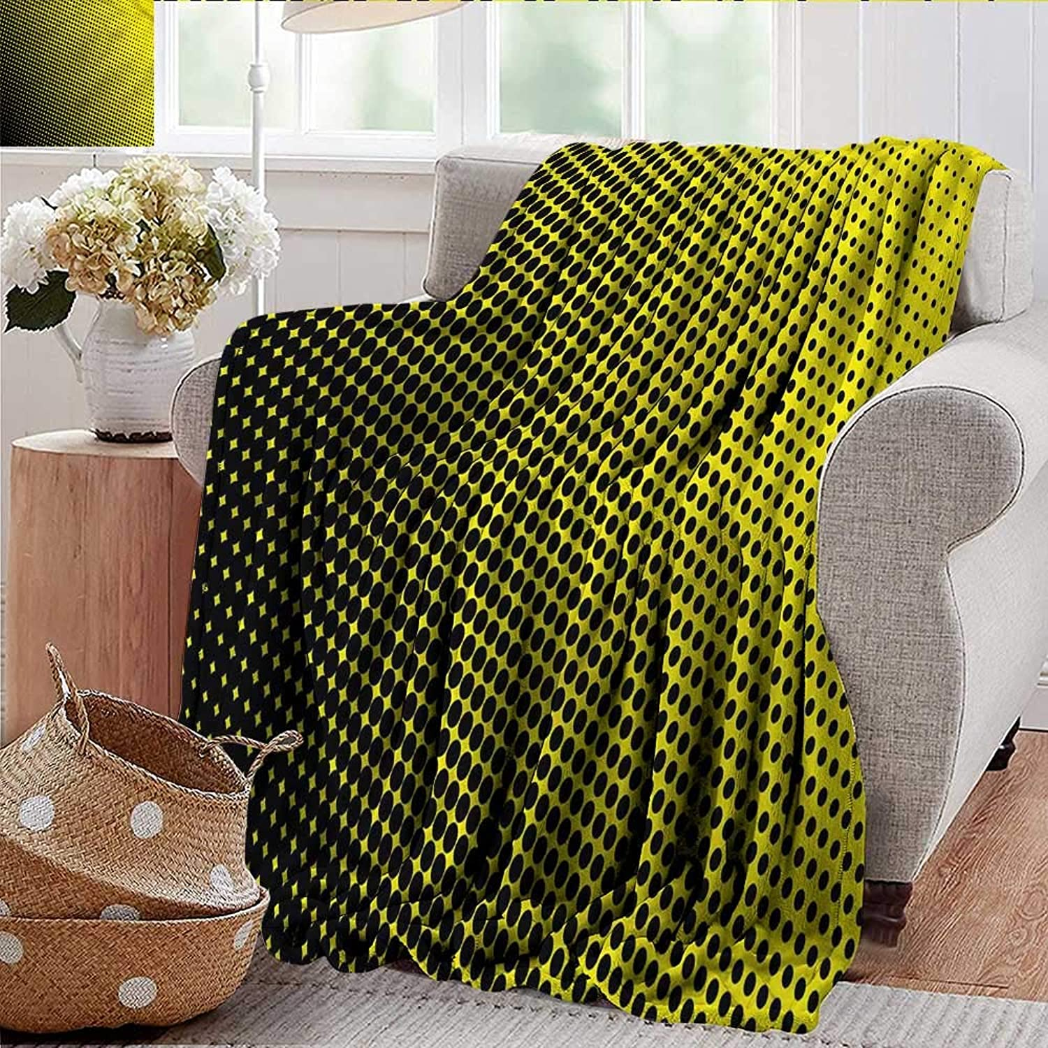 Xaviera Doherty Weighted Blanket for Kids Yellow,Yellow Themed with Dots Soft Summer Cooling Lightweight Bed Blanket 50 x60