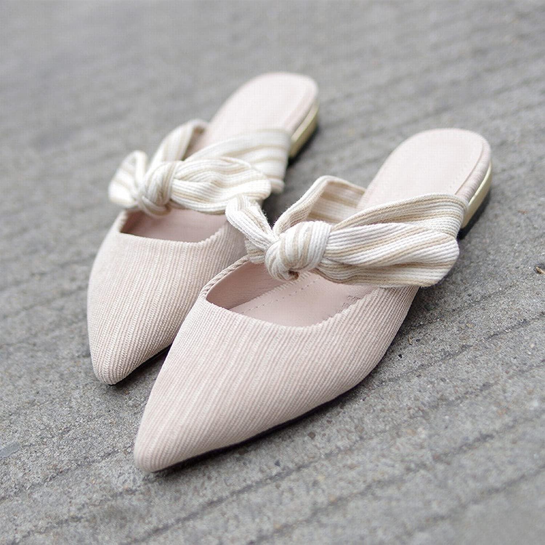 DIDIDD Pantofole Sautope Basse Femminili Fuori Dtutti'Usura Estiva Baotou Sautope da Fata Arco Punta Seali Pigri,Nudo,35