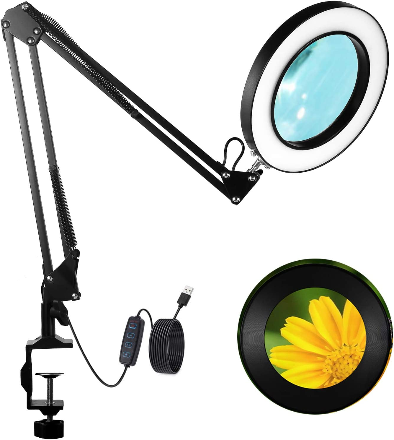 GEYOTAR LED Super-cheap Magnifying Lamp Light Clamp Max 76% OFF with Desk Magnifier