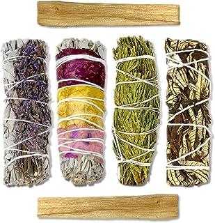 LIFE OF GAIA Sacred Sage Smudge Kit White Sage Bundles with Rose & Lavender, Cedar, Yerba Santa & Palo Santo Smudge Sticks...
