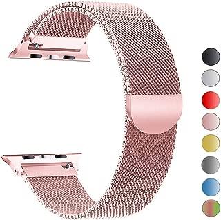 Robotekno Apple Watch Kordon 42mm 44mm, Metal Kayış Milano Kordon 1 | 2 | 3 | 4 | 5 (42mm/44mm, Pembe)