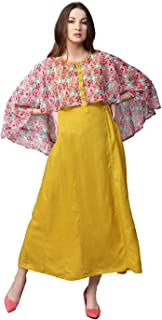 Women Mustard Yellow Printed Maxi Rayon & Chiffon Dress