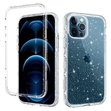 """DUEDUE Compatible with iPhone 12 Pro Max Case 6.7"""", Clear Glitter Shockproof 3 in 1 Heavy Duty Hybrid Hard PC Transparent TPU Bumper Full Protective Anti Scratch Case for iPhone Pro Max 2020,Clear"""