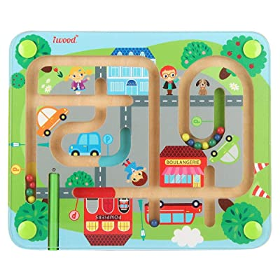 iwood Wooden Magnetic Maze- Town Traffic Magnet...