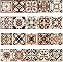 Vintage Adhesive Backsplash Tile Stickers for Stairs/Kitchen/Bathroom/Living Room, Easy Peel and Stick Decals for Home Decor, 7.87