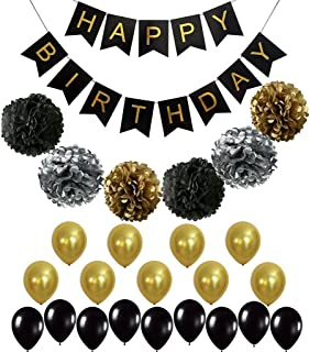 BLACK and GOLD PARTY DECORATIONS - Perfect Adult Birthday Decorations | Happy Birthday Banner | Black, Gold Balloons, Paper Pom Poms | Party Supplies for 30th,40th, 50th 60th Birthday Decorations