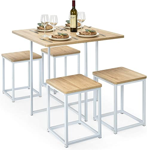 new arrival Giantex wholesale 5 Piece Dining Table Set, Dining Set for 4 with Square Stools, Small Kitchen Table Set with Metal Frame, Compact Design for Small Space, lowest Home Kitchen Bar Pub Apartment (Beige & White) sale