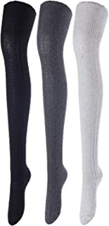 Incredible And Super Soft Women's 3 Pairs Thigh High Cotton Socks L1025 Size 6-9