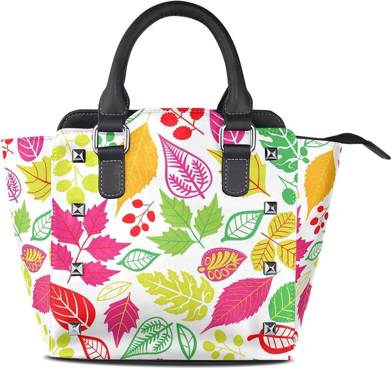 Women's Top Handle Satchel Handbag Multicolor Leaf Pattern Ladies PU Leather Shoulder Bag Crossbody Bag