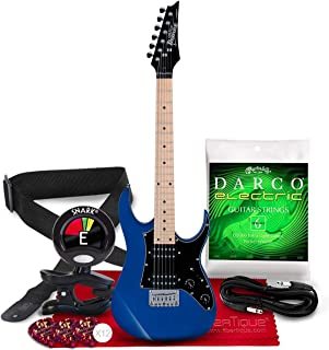 Ibanez GRGM21MJ6B String Solid-Body Electric Guitar, Right Handed with Tuner, Picks, Strings, and Complete Instrument Accessory Bundle