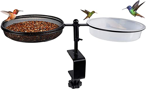 lowest yosager Bird Feeder Birdbath Deck Bowl Spa and Seeds Detachable Place The Flower Pot for sale Dual Use Deck Bird Feeder, Great for Attracting Birds, outlet online sale Adjustable Heavy Duty Sturdy Steel outlet online sale