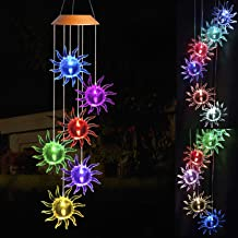 xxschy LED Solar Sunflower Wind Chimes Outdoor - Waterproof Solar Powered LED Changing Light Color 6 Sunflowers Mobile Romantic Wind-Bell for Home,Party,Festival,Night Garden Decoration,Gifts for Mom