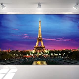 Paris Eiffel Tower Backdrop Banner Background Photo Booth Prop, Paris Night View Props Wall Photography Background Banner 6 x 3.6 Feet with 4 Copper Holes and 19.7 ft Black String