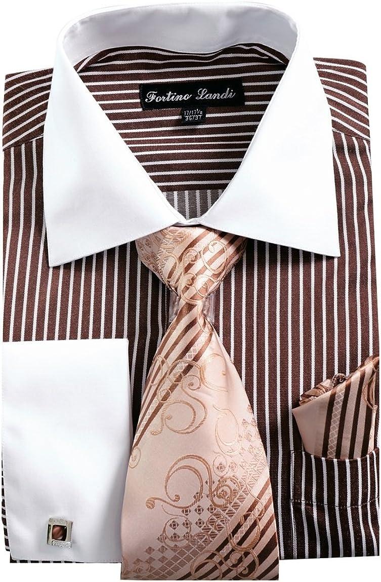 Fortino Choice Landi Men's Striped Dress Shirt French Cuff Austin Mall Tie w Links