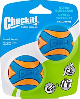 Chuckit! 31537 Ultra Squeaker Ball Small - 2 Pack, Blue & Orange