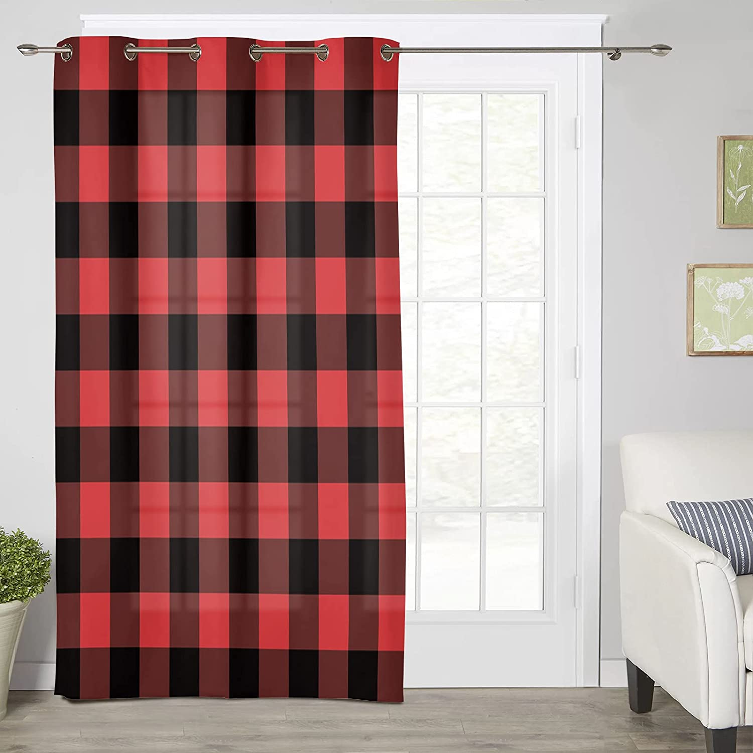 Clearance SALE! Limited time! Grommet Quantity limited Top Curtain Panels Red Buffalo Plaid and Black Noise