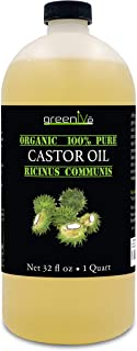 GreenIVe - 100% Pure Castor Oil - Cold Pressed - Hexane Free - Exclusively on Amazon … (32 Ounce)