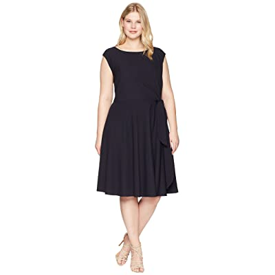 Tahari by ASL Plus Size Crepe Side Tie Fit and Flare Dress (Navy) Women