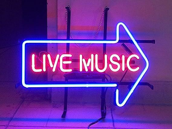 """17/""""x14/""""Live Music Gitarre Neon Sign Bier Bar Kneipe Neonwerbung Nachtlicht Dekor"""
