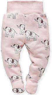 Pinokio Wild Animal - Baby Hose/Strampler Hose Neugeborene mit Tiere Motiv - Rosa Blau und Grau- 100% Baumwolle Schlafhose mit Füßen elastischer Bund Gr. 56, 62,68