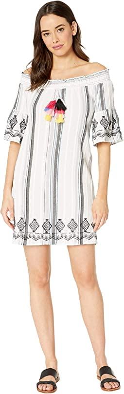 Crinkle Texture Stripe Off Shoulder Dress