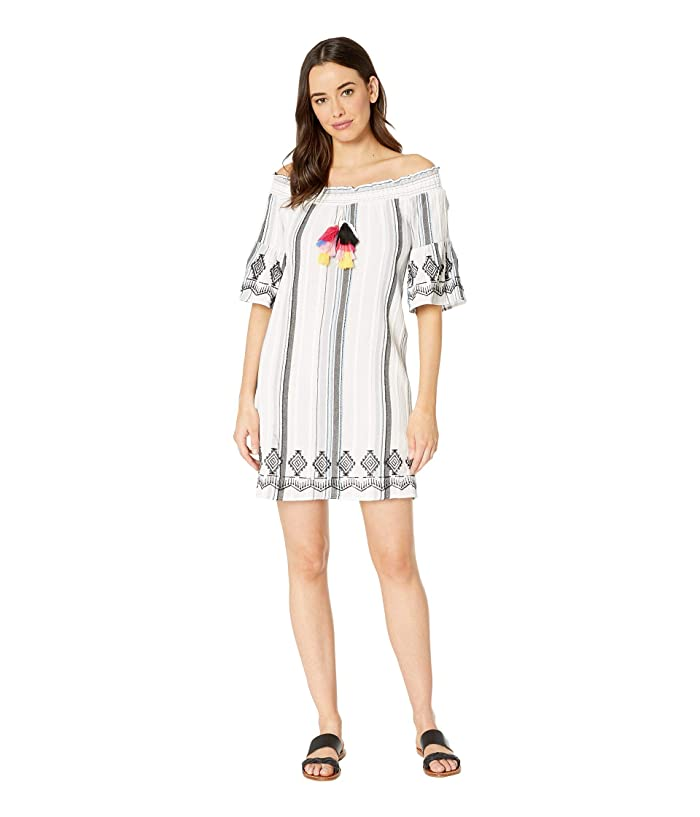 Tribal Crinkle Texture Stripe Off Shoulder Dress (White) Women