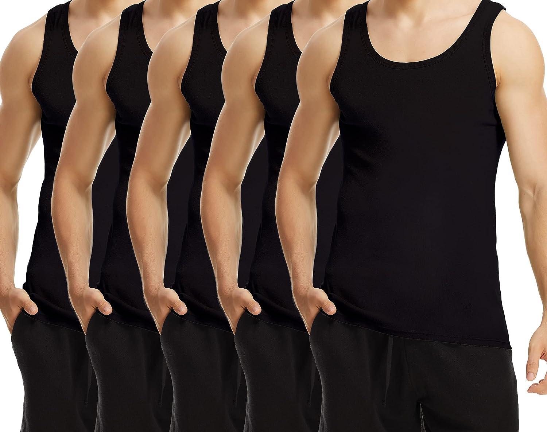 TUUHAW Camisetas de Tirantes para Hombre Pack de 5 de Algodón 100% Cómodo Múltiples Colores Y Tamaños