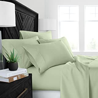 Sleep Restoration Luxury Bed Sheets with All-Natural Pure Aloe Vera Treatment - Eco-Friendly, Hypoallergenic 4-Piece Sheet Set Infused with Soothing/Moisturizing Aloe Vera - Queen - Olive