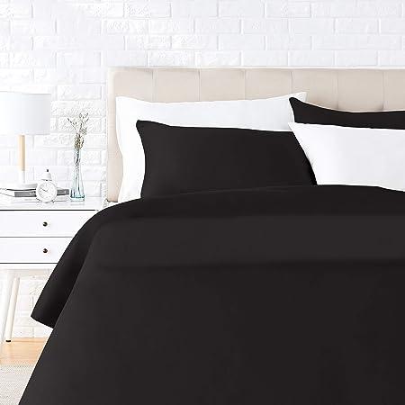 Amazon Basics Parure de lit avec housse de couette en satin, 230 x 220 cm / 50 x 80 cm x 2, Noir