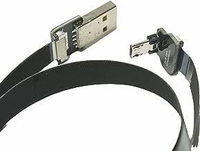 Short FFC Micro USB FPV Flat Slim Thin Ribbon FPC Cable Micro USB 90 Degree to Standard USB A for sync and Charging Black(10CM)