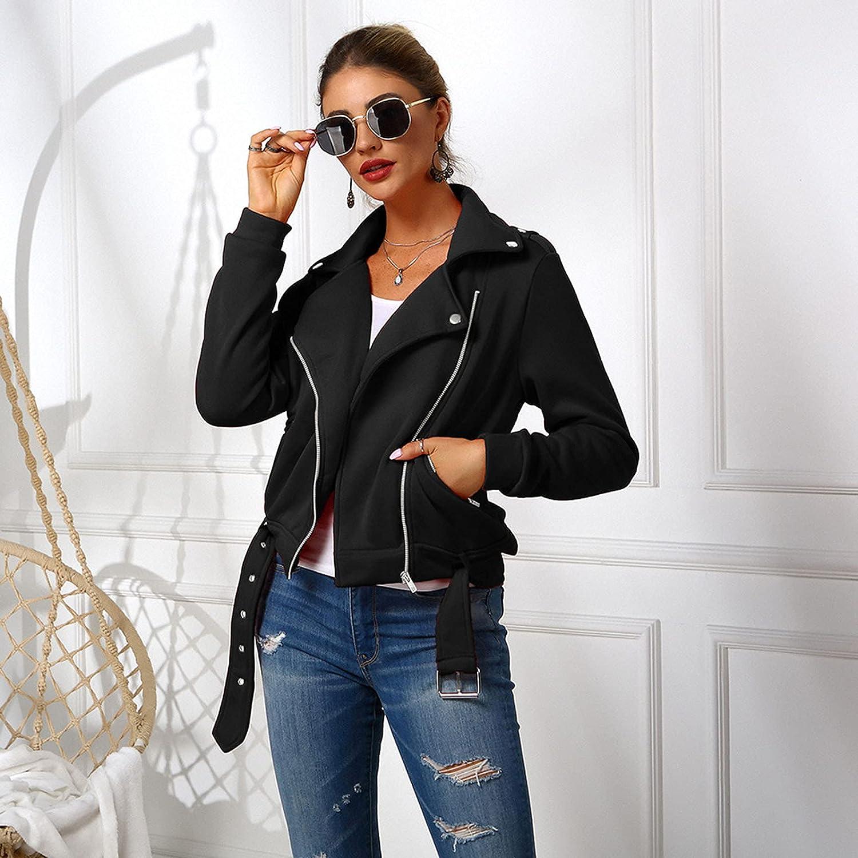 Jackets for Women Casual Autumn Solid Long Sleeve Cardigan Jacket Fashion Zipper Pocket Coat Blouse
