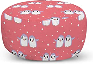Lunarable Bird Print Ottoman Pouf, Happy Penguins Walking Dancing Arctic Mammal Cartoon, Decorative Soft Foot Rest with Removable Cover Living Room and Bedroom, Pink Pastel Purple