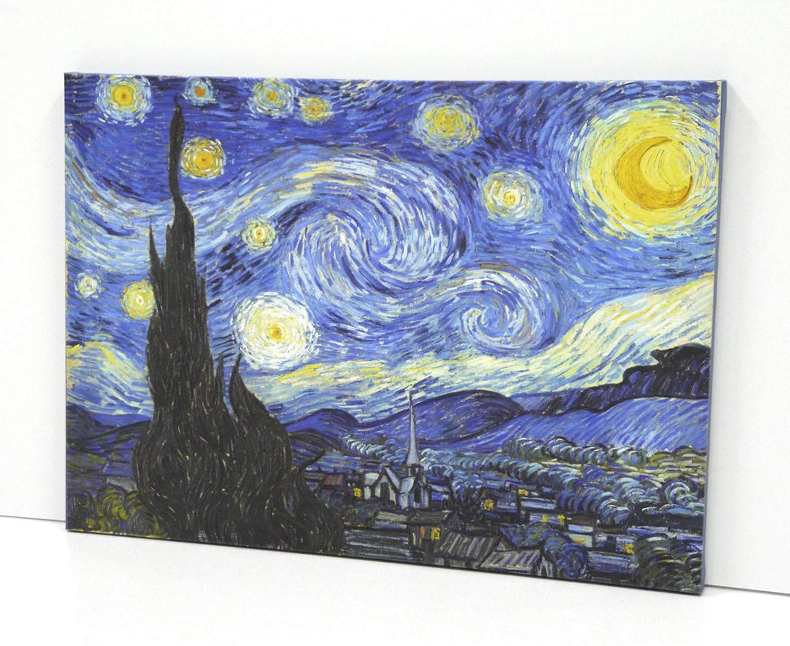 BaikalGallery Lienzo Van Gogh - LA Noche Estrellada- Impreso en Canvas de algodón de 320 gr.- Montado sobre Bastidor de Madera de Pino de 2 cm de Grosor. Acabado Mate. (50x70cm): Amazon.es: Hogar
