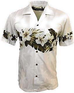 659cc6a5fe3 Favant Tropical Luau Beach Hibiscus Band Floral Print Men s Hawaiian Aloha  Shirt