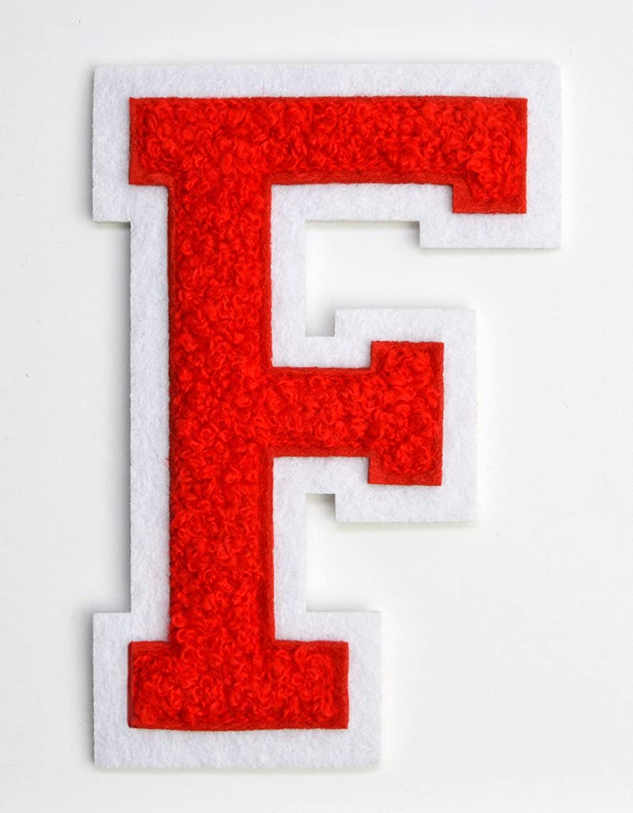 Varsity Letter Patches - Red Embroidered Chenille Letterman Patch - 4 1/2 inch Iron-On Letter Initials (Red, Letter F Patch)
