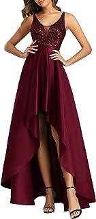 Ever-Pretty Vestito da Cerimonia Lungo Linea ad A Tinta Unita Brillantini Scollo a V Donna Vestiti da Sera 00667