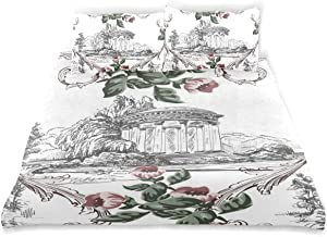 COVOSA Duvet Cover Set Vintage Pattern Toile De Jouy Style Decorative 3 Piece Bedding Set with 2 Pillow Shams Soft Bedding Set with Zipper Closure