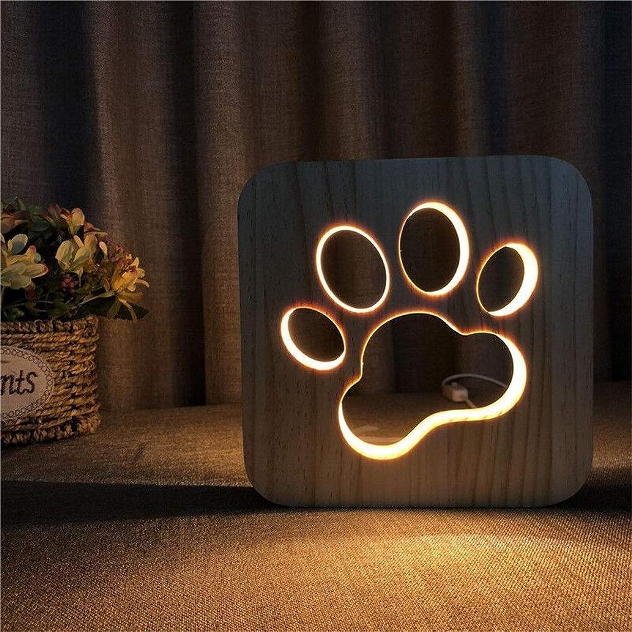 揺れる叱る適切なナイトライトled かわいい猫の爪の足跡彫刻パターン3d木製錯覚ledライトオフィステーブルランプギフトリビングルーム家の装飾usb電源 常夜灯 (色 : Wood, サイズ : 190*190*30mm)