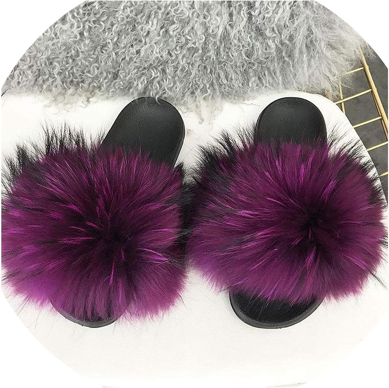 Just XiaoZhouZhou Real Raccoon Fur Slippers Women Sliders Casual Fox Hair Flat Fluffy Fashion Home Summer Big Size 45 Furry Flip Flops shoes,Purple,6