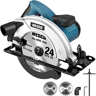 Circular Saw, WESCO 1500W Electric Saw 5800RPM, 24T/40T Blades(185mm), Max Cutting Depth 65mm(90°), 45mm(45°) for Cutting ...