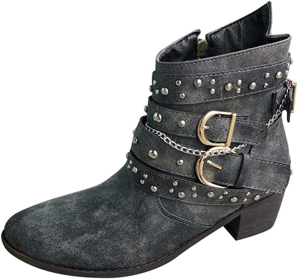 Fashion Cowboy Boots - RQWEIN Women's Leather Western Ankle High Cowboy Motorcycle Riding Pointy Toe Moto Dress Boots