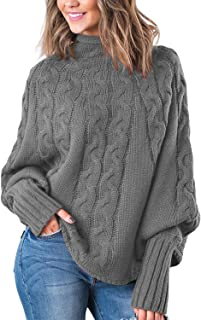 VamJump Women Cable Knit Mock Neck Dolman Sleeve Oversized Pullover Baggy Sweater
