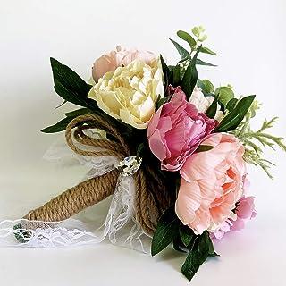 باقة ورد صناعية من الزهور والماس والساتان والماس والزفاف ووصيفة العروس باقة من باقة زهور الزفاف والخطوبة والعيد الحب