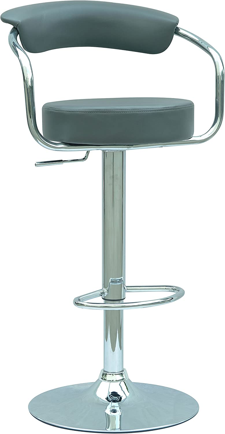 Milan Maribel Pneumatic Gas Lift Adjustable Height Swivel Stool, Grey