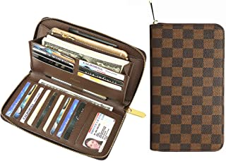 Miracle Large Capacity Checkered Zip Around Travel Wallet and Phone Clutch - RFID Blocking with Card Holder Organizer for Men Women (Brown)
